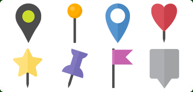 Flat Map Markers Icons Set - PNG Flat