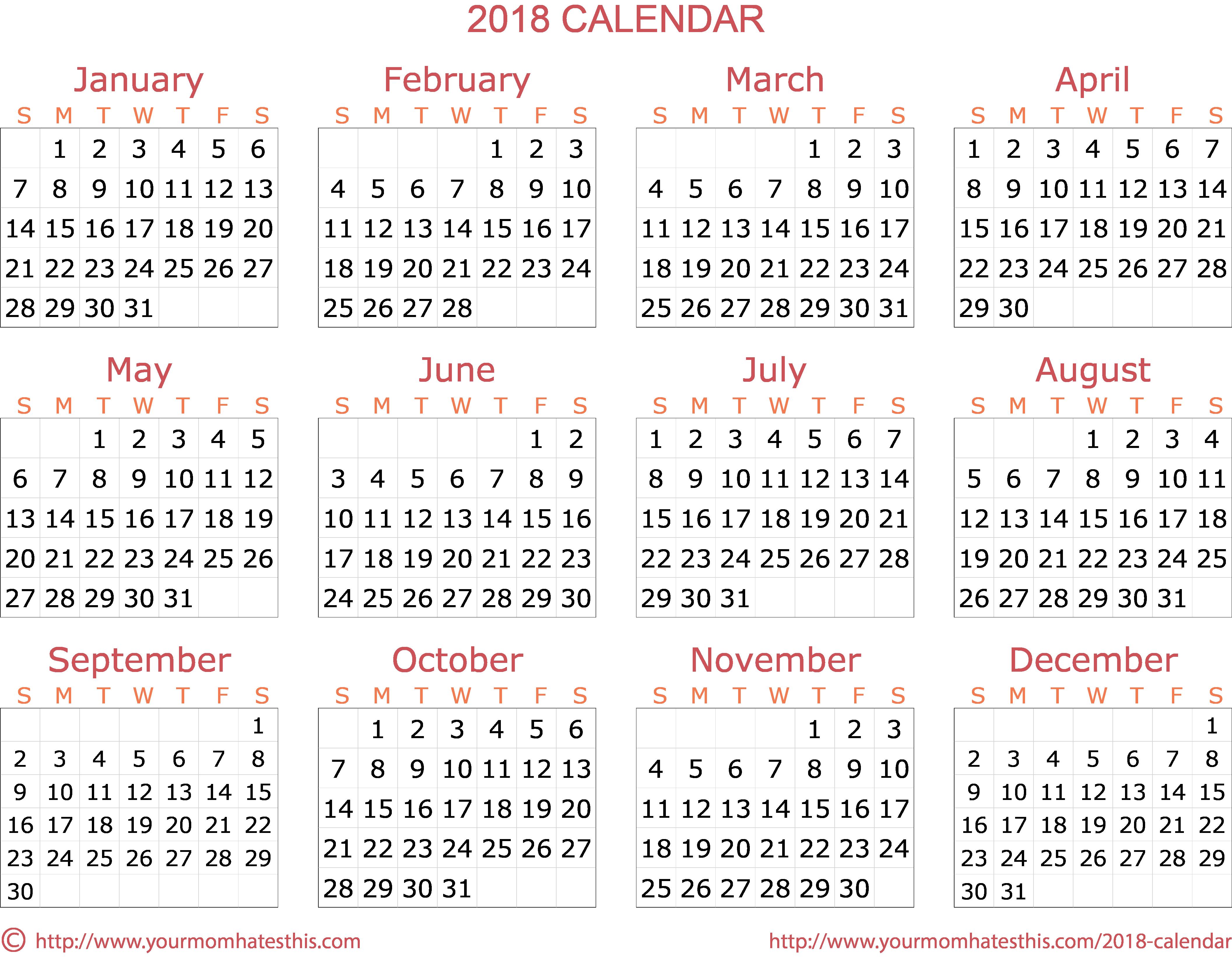 2018 Year Calendar Formal Template - PNG For Calendar