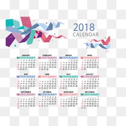 color corner band calendar template, Vector Material, 2018 Calendar, 2018  Desk Calendar PNG - PNG For Calendar