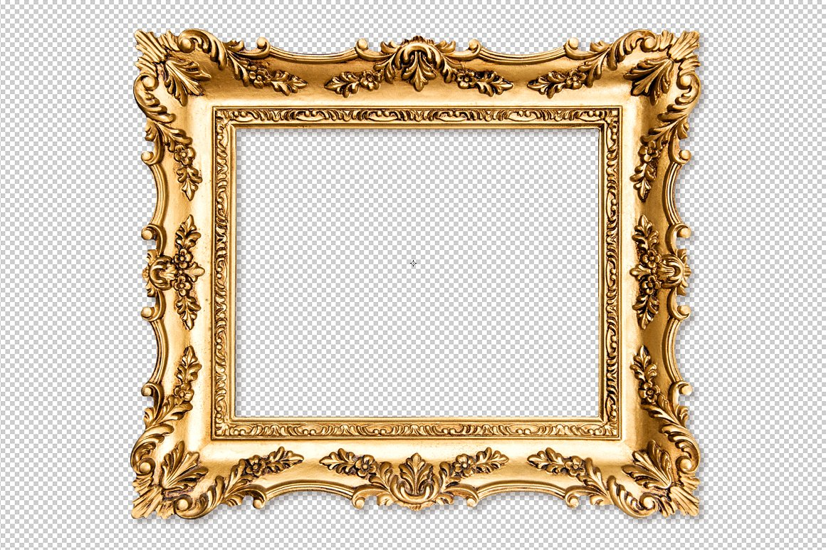 Gold Photo Frame PNG with Bro