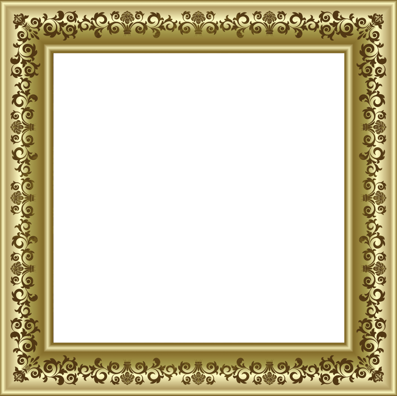Gold Photo Frame PNG with Brown Ornaments - PNG Frames For Pictures