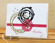 Clean and Simple CAS Swirly Scribbles Stampinu0027 UP! note card featuring gold  glimmer, basic black and Melon Mambo color combo. - PNG Geburtstagsstrauss