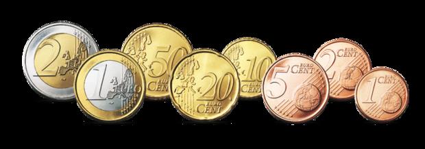 Die Vorder-Seite der Euro-Münzen - PNG Geld Euro