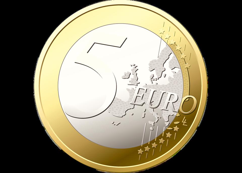 Münze, 5 Euro, Geld, Euro, Wertvoll, Silber, Gold - PNG Geld Euro