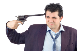 Businessman Holding Gun To He