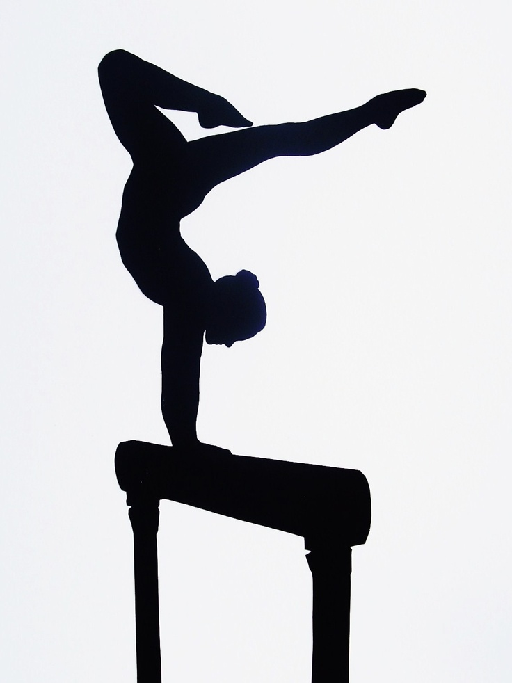 Custom Full Body Silhouette Gymnastics (not a print) - PNG Gymnastics Black And White