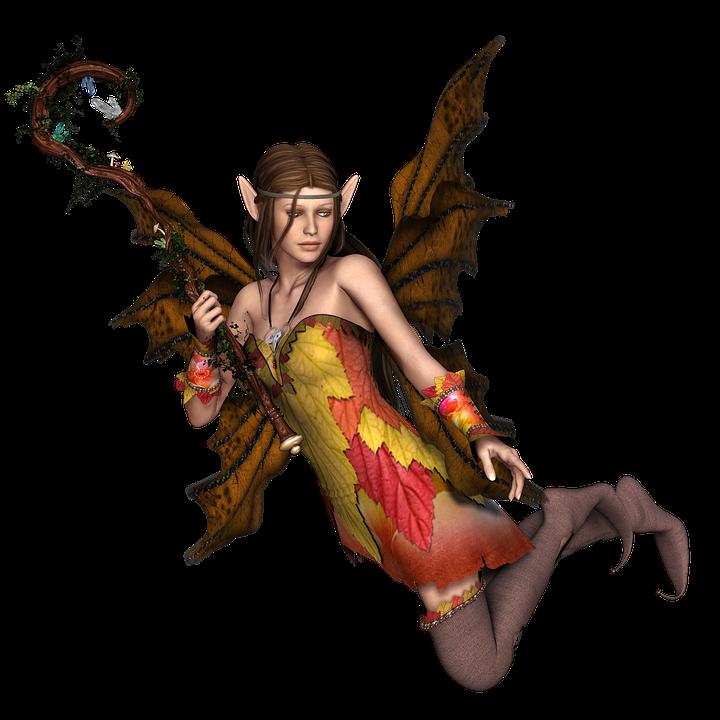niña mujer de hadas elf alas 3d que vuelan png - PNG Hadas Gratis