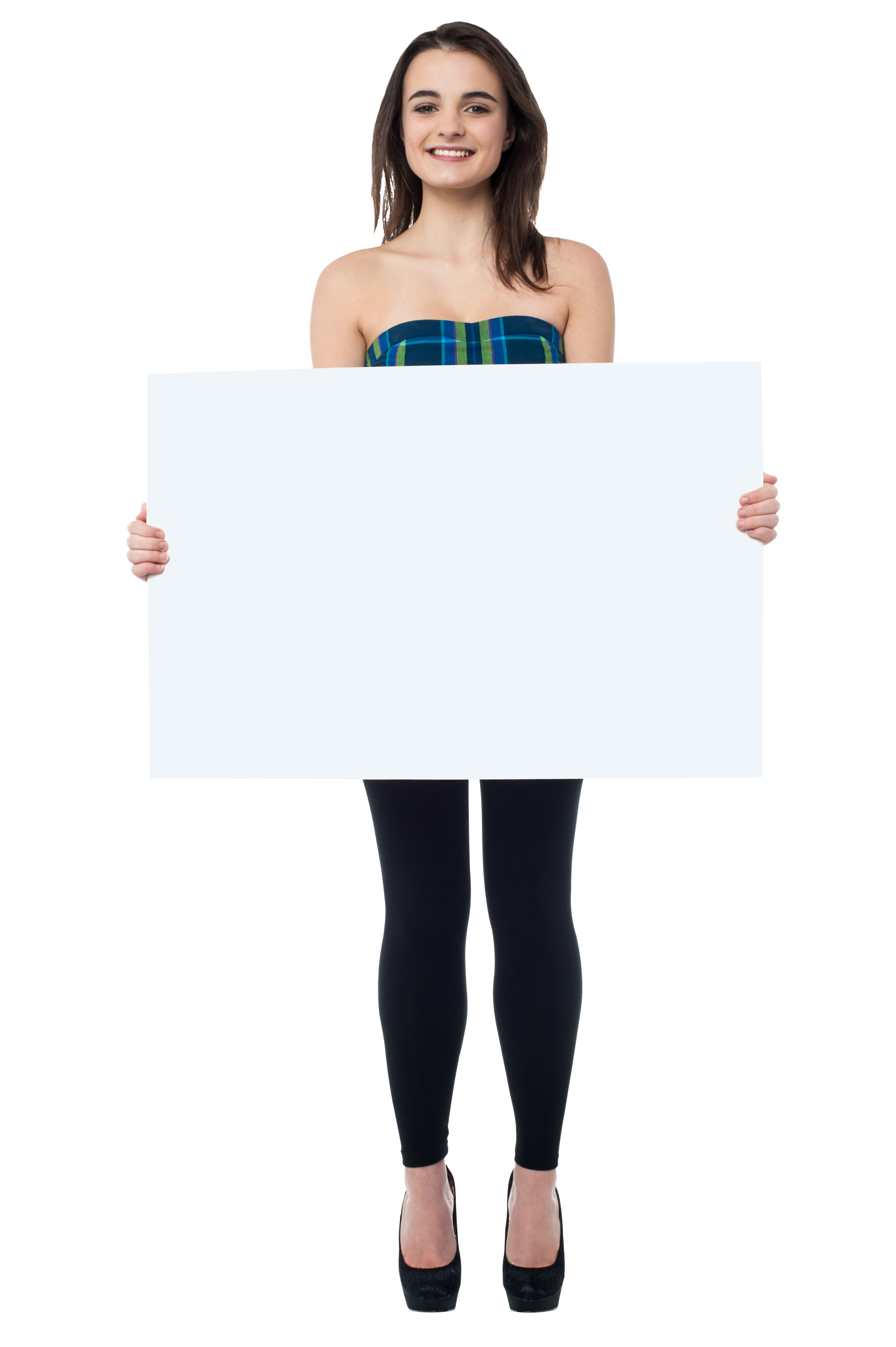 Girl Holding Banner HD Free PNG Image