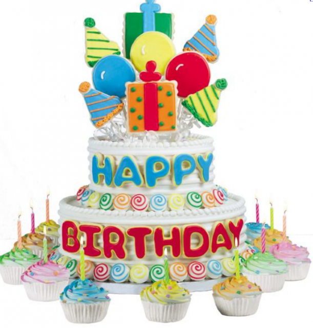 Big Birthday Cake Neutral First Birthday Cake With Balloon Cake Theme With  Big Happy Ideas - PNG HD Birthday Cake And Balloons