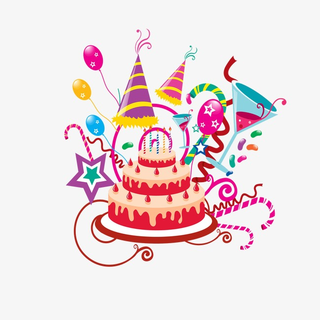 Birthday Cake, Party, Streamers, Balloons Free PNG Image - PNG HD Birthday Cake And Balloons