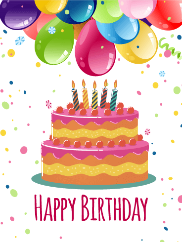 Colorful Birthday Balloon U0026 Cake Card - PNG HD Birthday Cake And Balloons