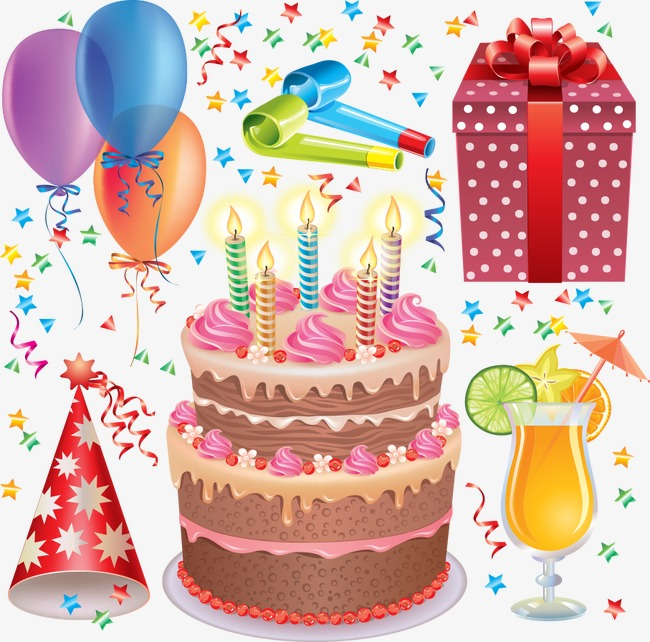 Vector Birthday Cake And Balloons, Birthday, Happy Birthday, Birthday  Elements Free PNG And Vector - PNG HD Birthday Cake And Balloons