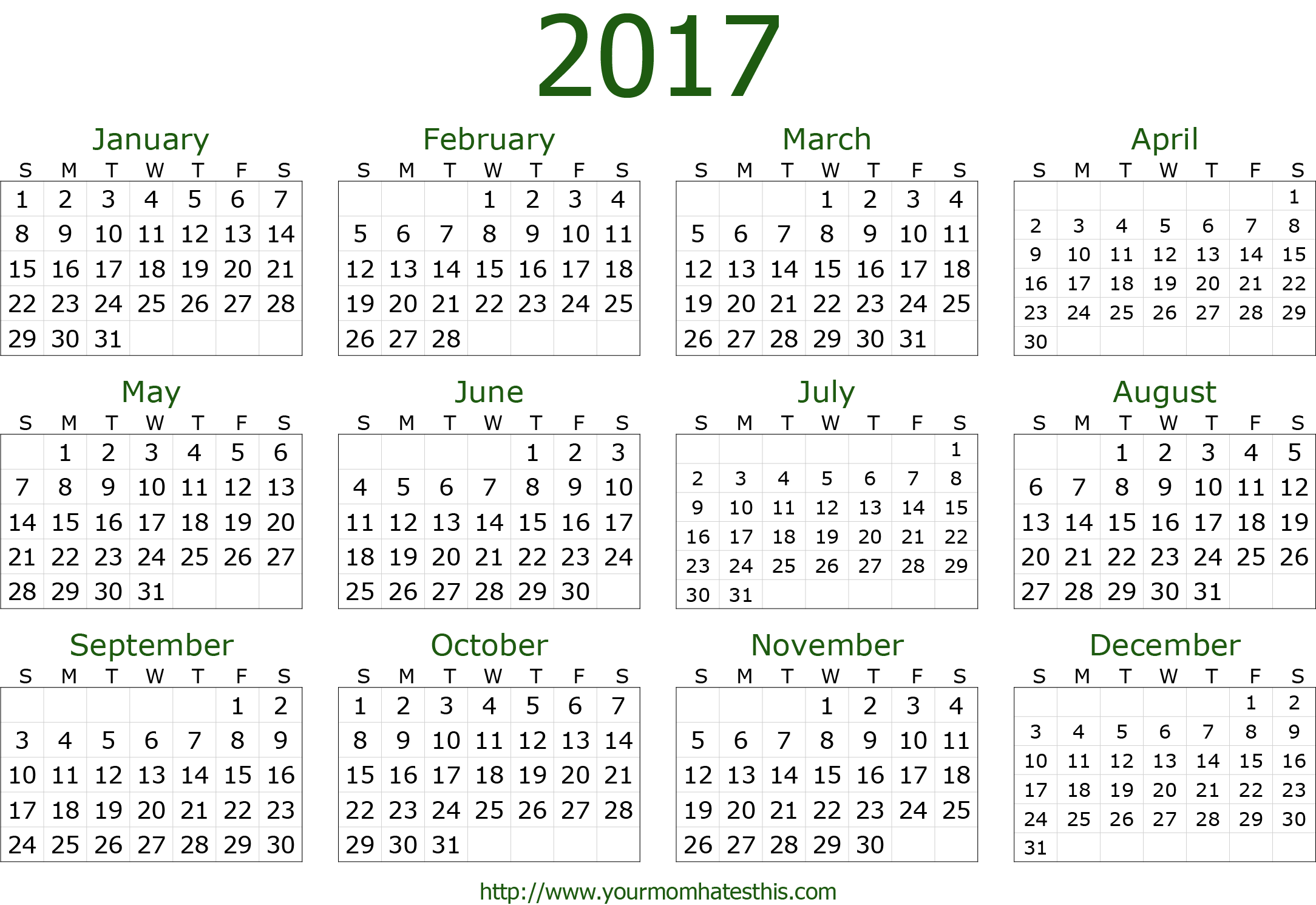 2017 dark green calendar template png hd calendar