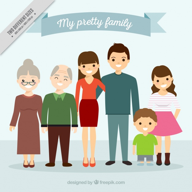 Large united family backgroun