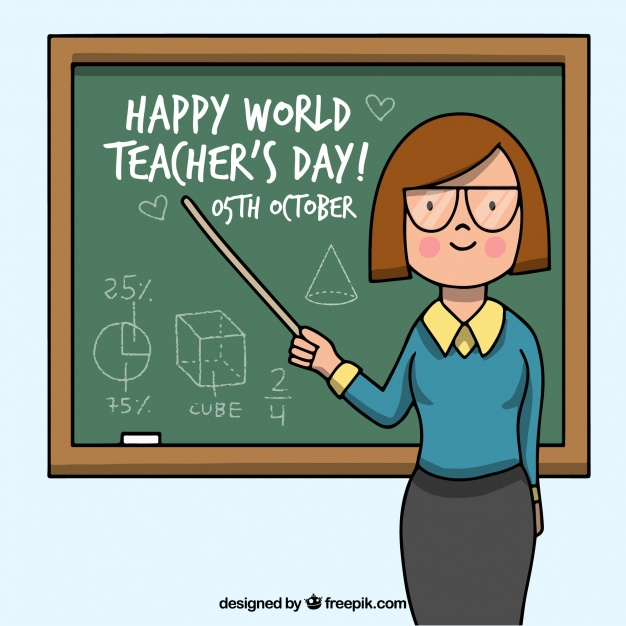 Happy teacheru0027s day, teacher pointing to the blackboard - PNG HD For Teachers