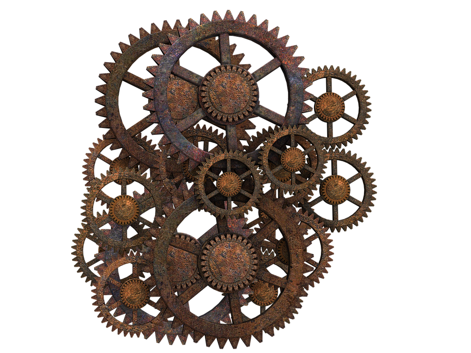 Gear, Gear Wheels, Steampunk, Rusty, Isolated - PNG HD Gears Cogs