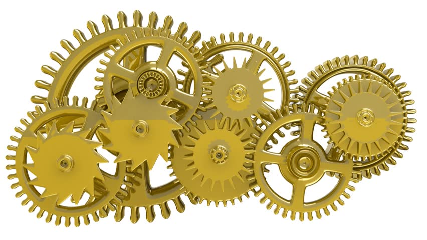 Isolated rotating golden gears. 1080 HD. Looped. Alpha channel included. -  HD - PNG HD Gears Cogs