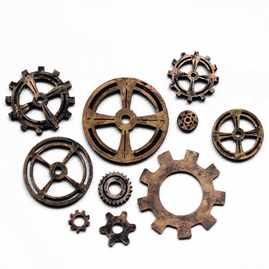 Steampunk Cogs and Gears by RogueVincent PlusPng.com  - PNG HD Gears Cogs