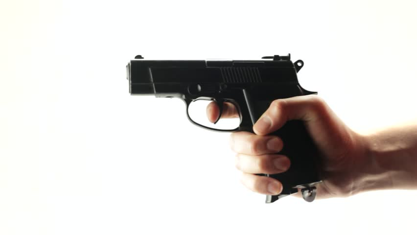 Man shoots a black gun on a white background - HD stock footage clip - PNG HD Gun
