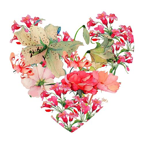 eatsleepdraw: Valentines Heart great idea to draw and paint flowers in a  defined shape like a heart, or a shoe or a handbag - PNG HD Hearts And Flowers