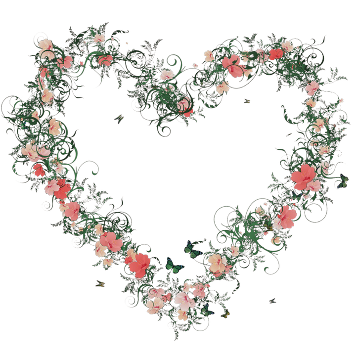 heart flowers blossom bloom colorful plant deco - PNG HD Hearts And Flowers