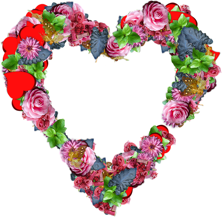 Heart Flowers Png Love Valentine Colors Sc - PNG HD Hearts And Flowers