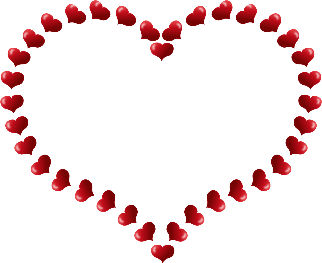 Mothers Day Red Heart Shaped Border with Little Hearts Flowers - PNG HD Hearts And Flowers