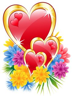 Valentine Hearts with Flowers PNG Clipart Picture. - PNG HD Hearts And Flowers