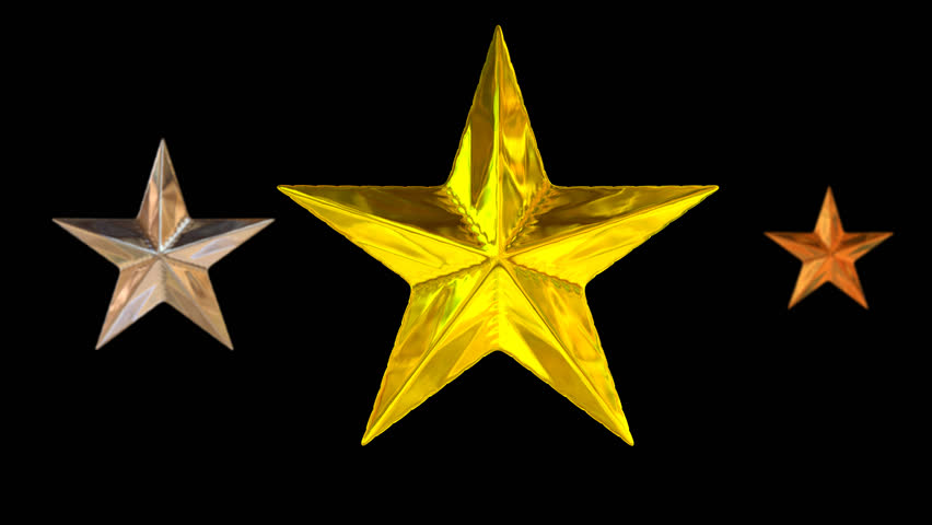 Animated spinning gold (in main focus), silver and bronze stars against  transparent background - PNG HD Images Of Stars