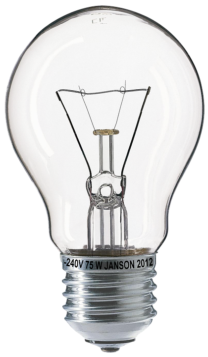 Light Bulb, Bulbs, Fragile, 75W, Glow Wire, Glass - PNG HD Light Bulb