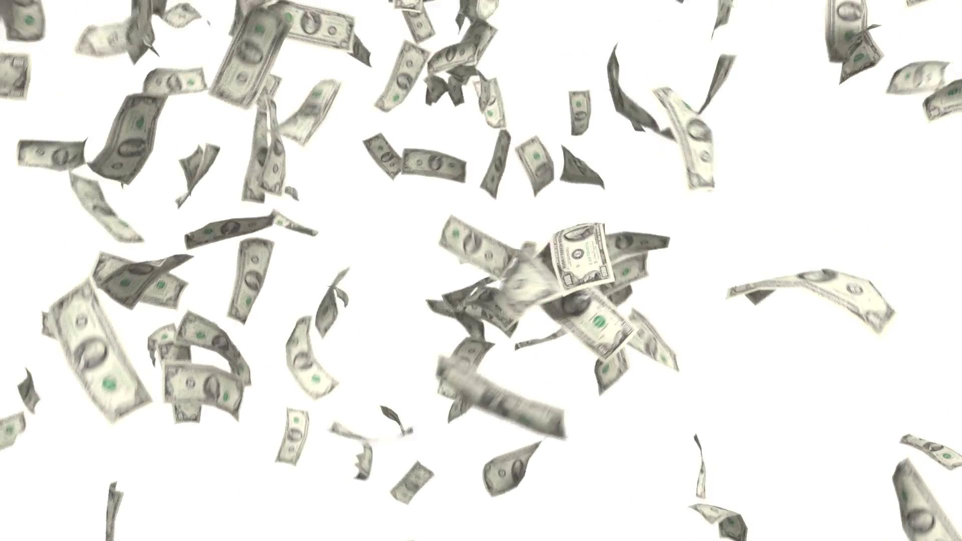 Money Falling Dollars Financi
