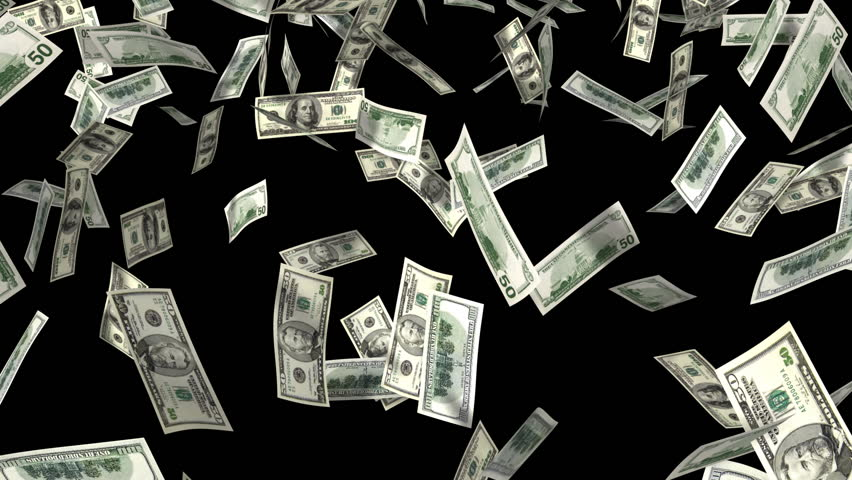 money rain, 3d animation with alpha-matte - HD stock video clip - PNG HD Money