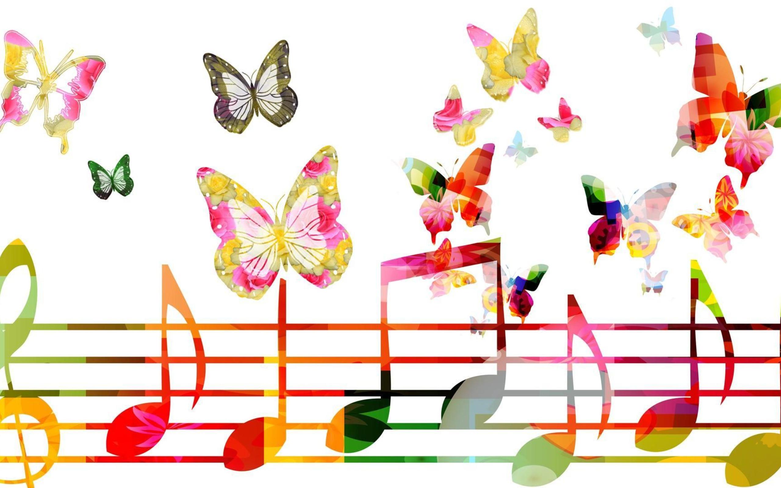 Müzik - Sanatsal Soyut Müzik Kelebek Renkler Colorful Musical Note  Duvarkağıdı - PNG HD Music Notes