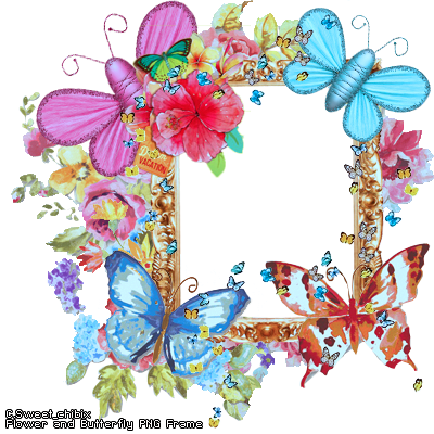 Flower and Butterfly PNG Frame by Sweet-chibix PlusPng.com  - PNG HD Of Butterflies And Flowers