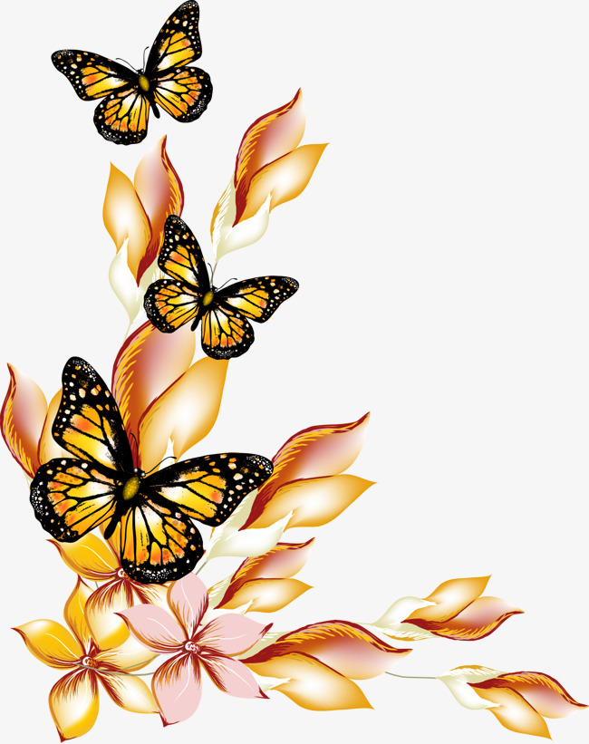 Flowers and butterflies borders vector, Flowers And Butterflies Border,  Vector Flowers Butterfly Border Free PNG and Vector - PNG HD Of Butterflies And Flowers