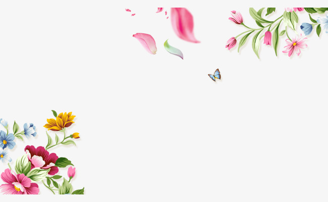 Hand painted flowers Butterfly Border Texture, Hand Painted, Flowers,  Butterfly Free PNG and PSD - PNG HD Of Butterflies And Flowers