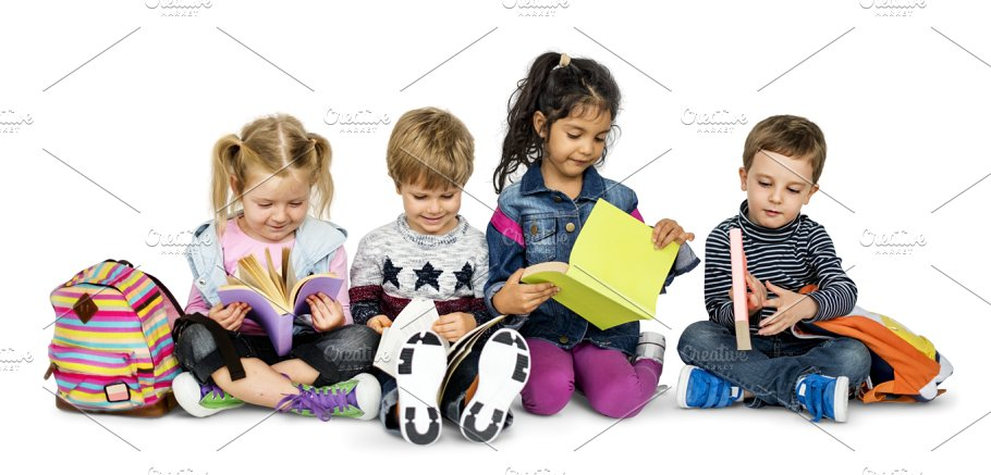 Little Kids Reading (PNG) - People - PNG HD Of Kids Reading