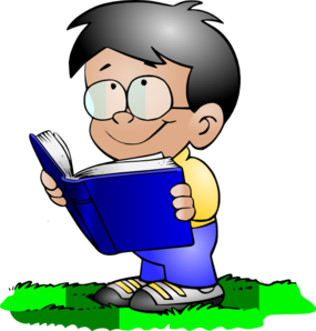 boy and girl reading clipart