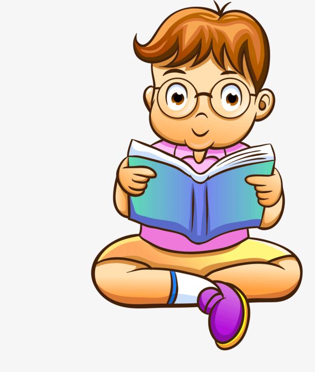 Cartoon boy reading, Cartoon,