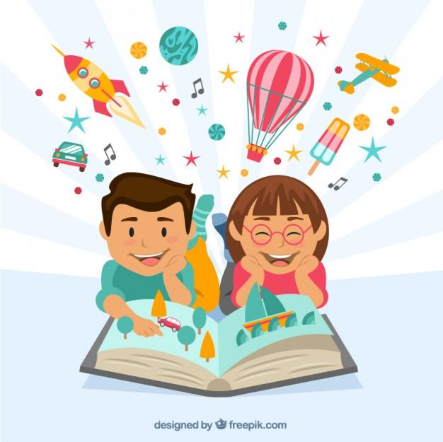 Happy children reading a imag