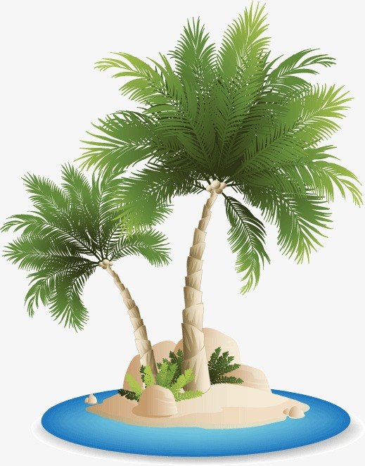 Background beach coconut tree vector material, Ocean, Blue, Sandy Beach PNG  and Vector - PNG HD Palm Tree Beach