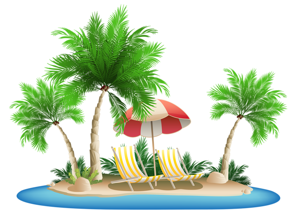 Beach Umbrella with Chairs and Palm Island PNG Clipart - PNG HD Palm Tree Beach