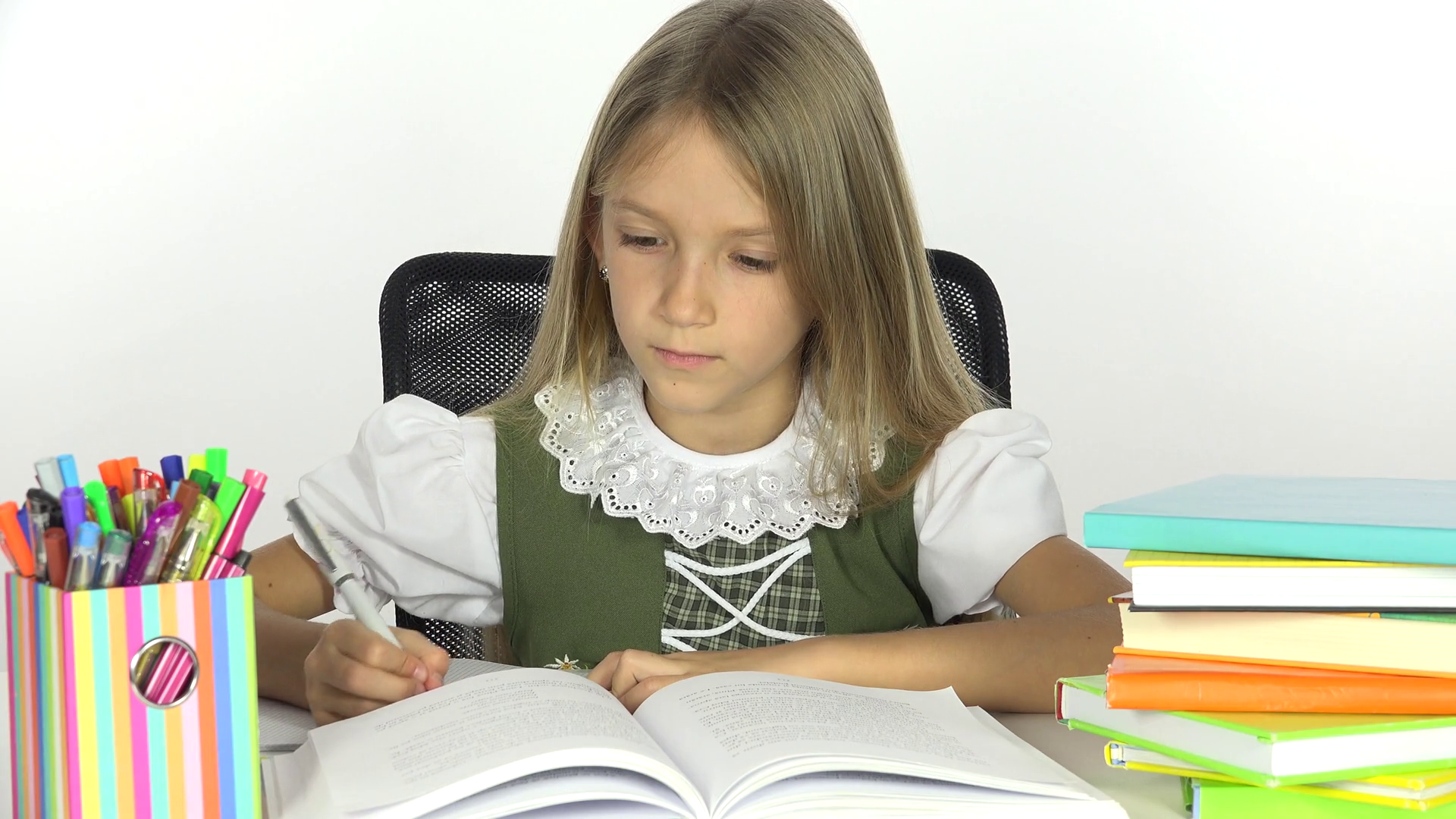 4K School Girl Reading, Student Child Writing, Office View and Learning Kid  Stock Video - PNG HD Student Reading