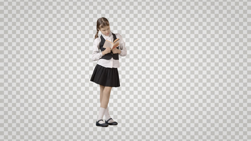 Schoolgirl with book is standing, reading u0026 waiting. Front view. Footage  with alpha - PNG HD Student Reading