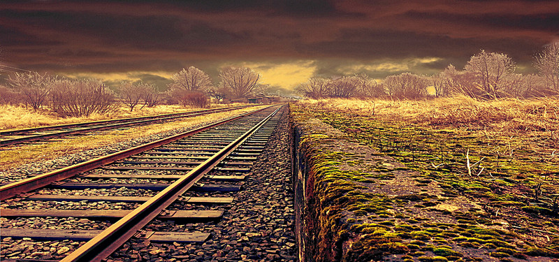 art retro background train tracks, Train Tracks, Desolate, Fall, Background  image - PNG HD Train Tracks