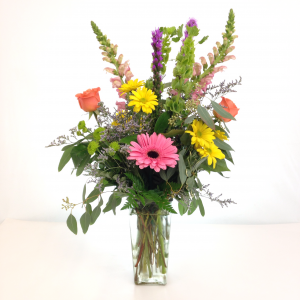 A Beautiful Designer Choice Bouquet Of Assorted Colors Of California Grown  Flowers In A Vase. - PNG HD Vase Of Flowers