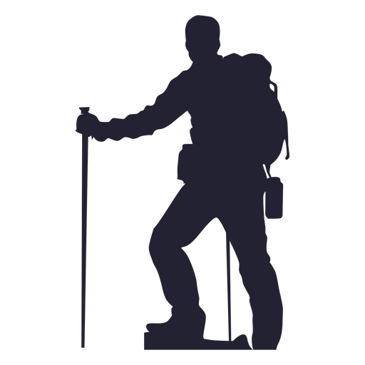 Hiking man silhouette png - PNG Hiker Free