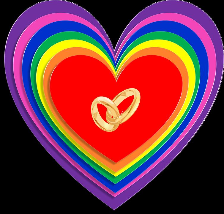 Ægteskab, Ligestilling, Regnbue, Hjerter, Bryllup - PNG Hjerter Bryllup