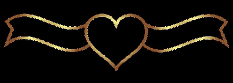 Banner, Hjerte, Bryllup, Guld, Plade - PNG Hjerter Bryllup