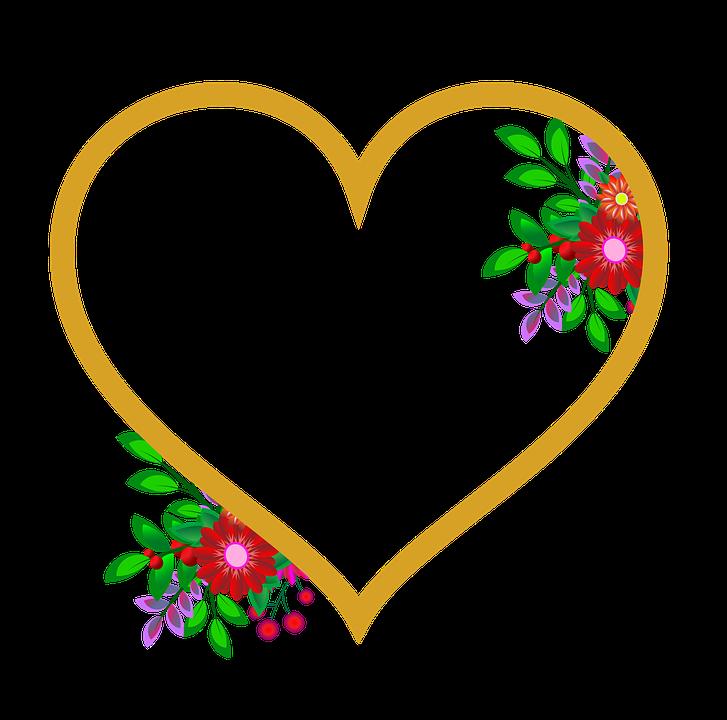 Fotoramme, Hjerte, Blomster, Bryllup, Elsker, Lykke - PNG Hjerter Bryllup